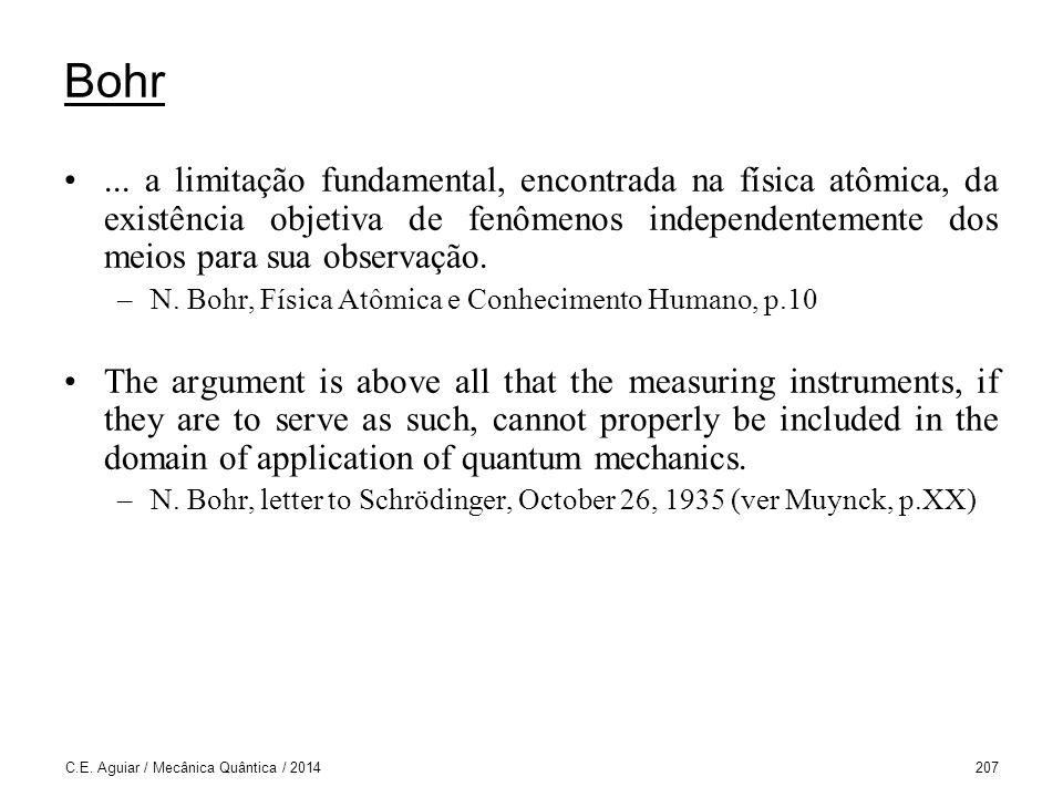 Bohr ... a limitação fundamental, encontrada na física atômica, da existência objetiva de fenômenos independentemente dos meios para sua observação.