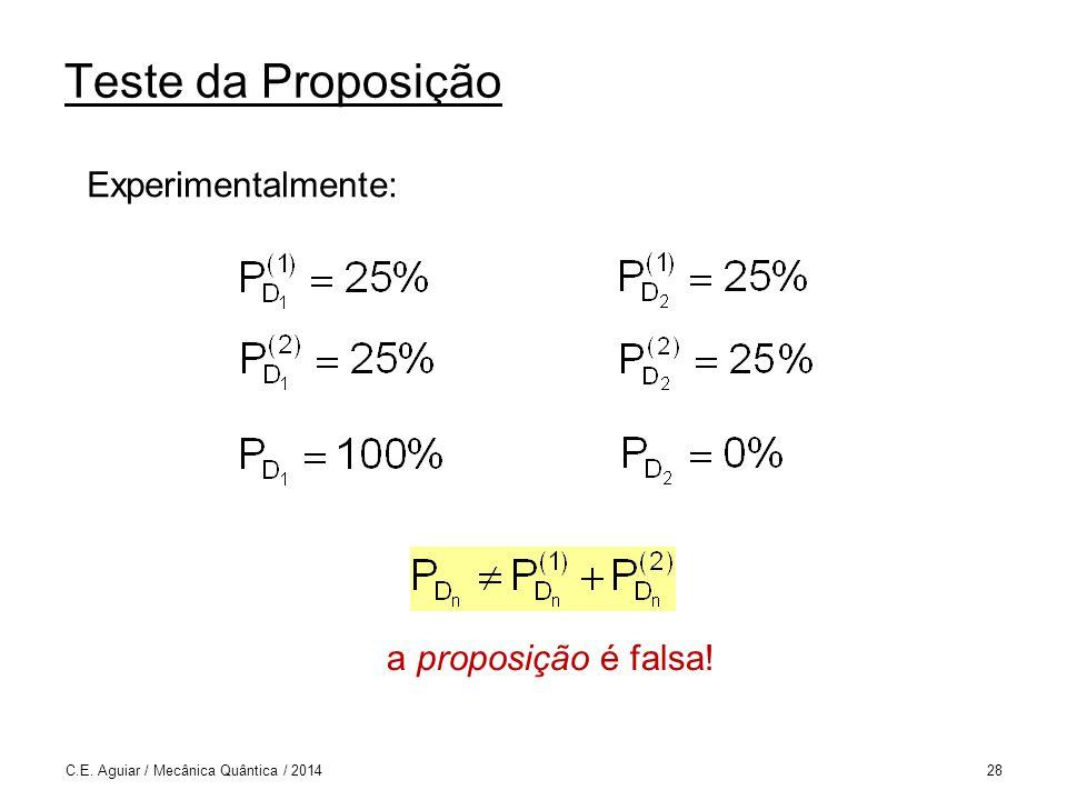 Teste da Proposição Experimentalmente: a proposição é falsa!