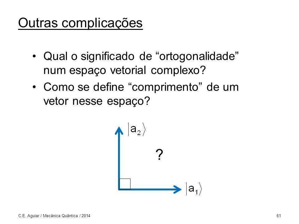 Outras complicações Qual o significado de ortogonalidade num espaço vetorial complexo Como se define comprimento de um vetor nesse espaço