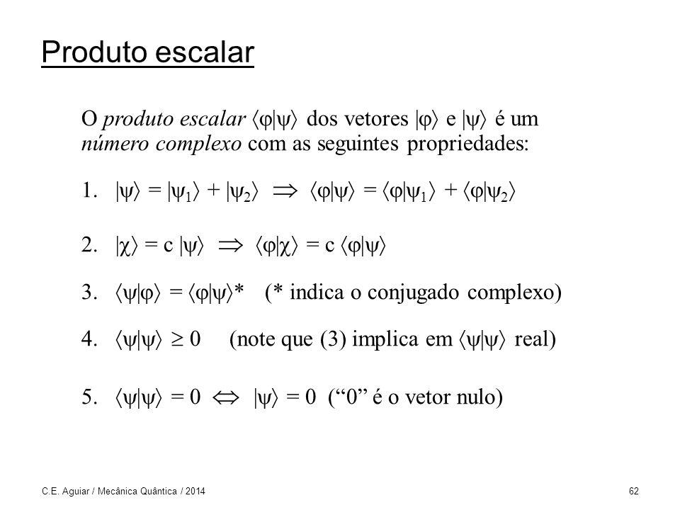 Produto escalar O produto escalar | dos vetores | e | é um número complexo com as seguintes propriedades: