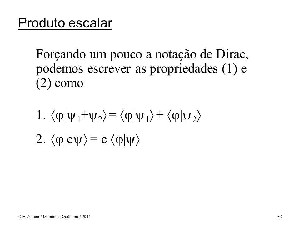 Produto escalar Forçando um pouco a notação de Dirac, podemos escrever as propriedades (1) e (2) como.