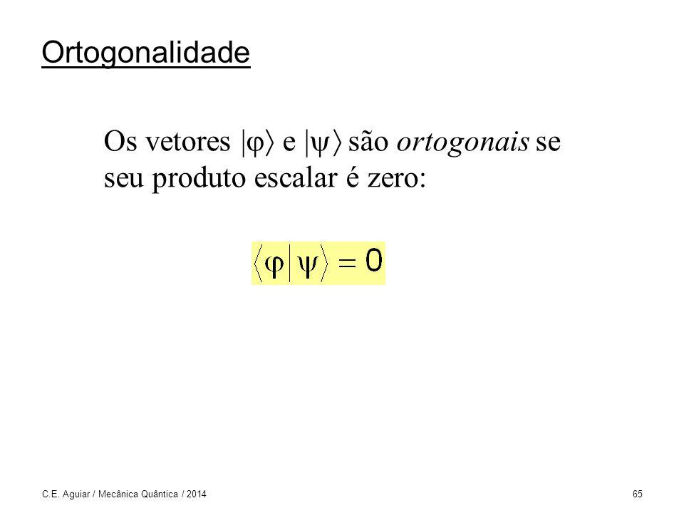 Os vetores | e | são ortogonais se seu produto escalar é zero: