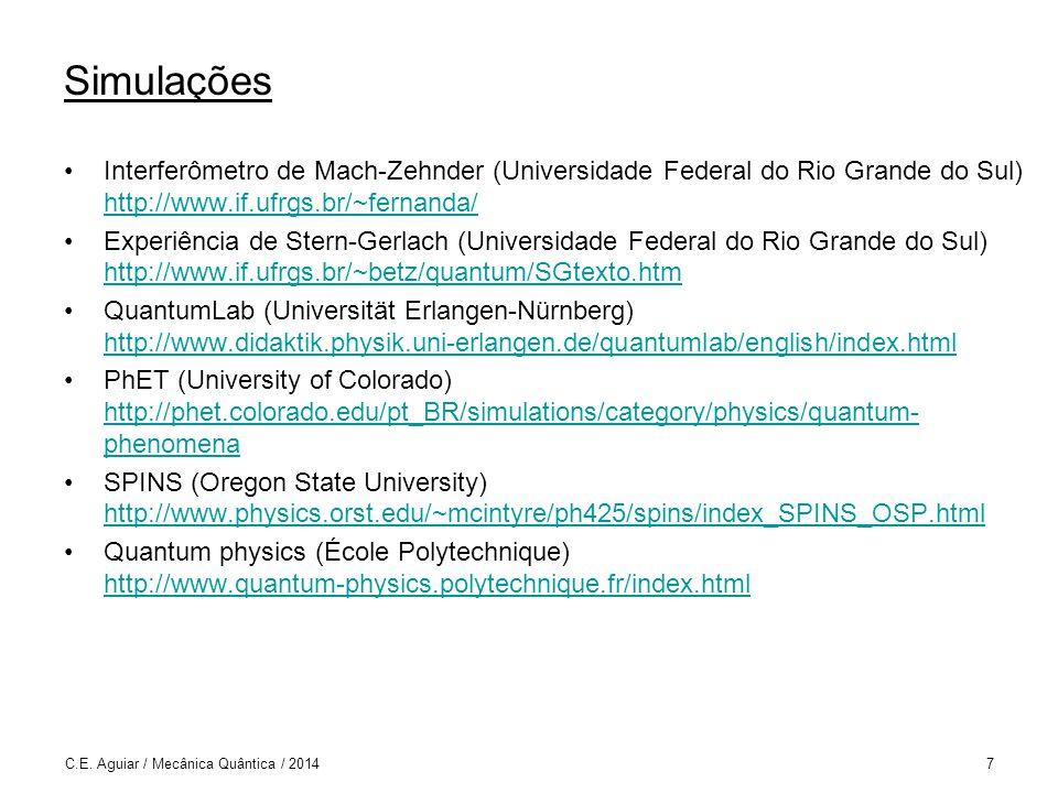 Simulações Interferômetro de Mach-Zehnder (Universidade Federal do Rio Grande do Sul) http://www.if.ufrgs.br/~fernanda/