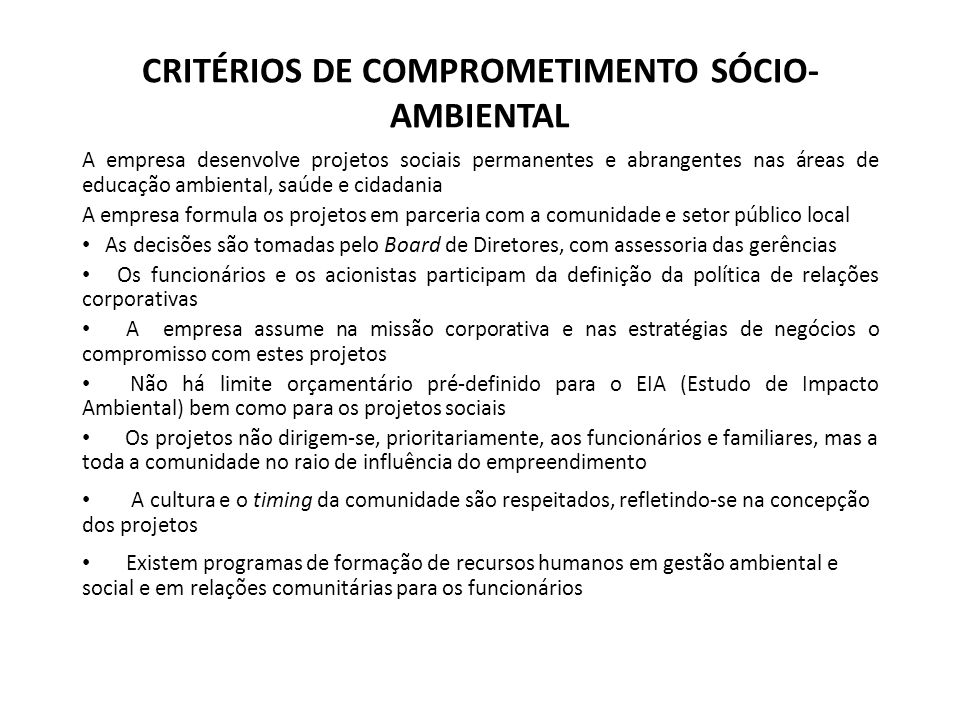CRITÉRIOS DE COMPROMETIMENTO SÓCIO-AMBIENTAL