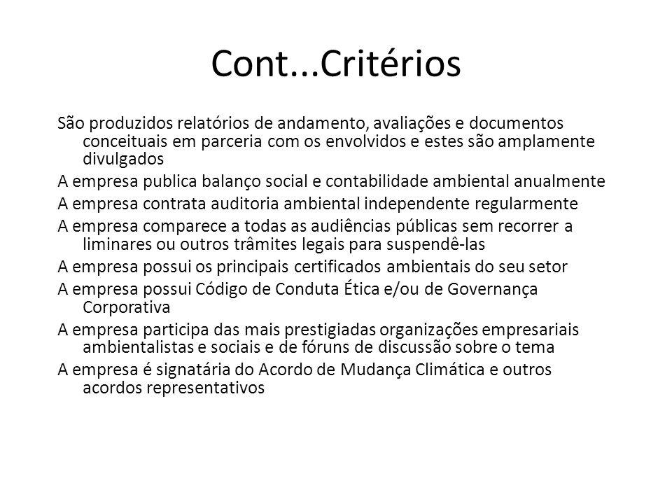 Cont...Critérios