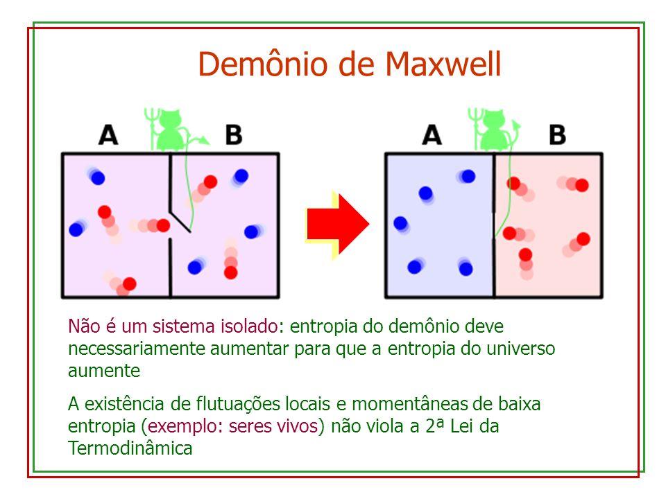 Demônio de Maxwell Não é um sistema isolado: entropia do demônio deve necessariamente aumentar para que a entropia do universo aumente.