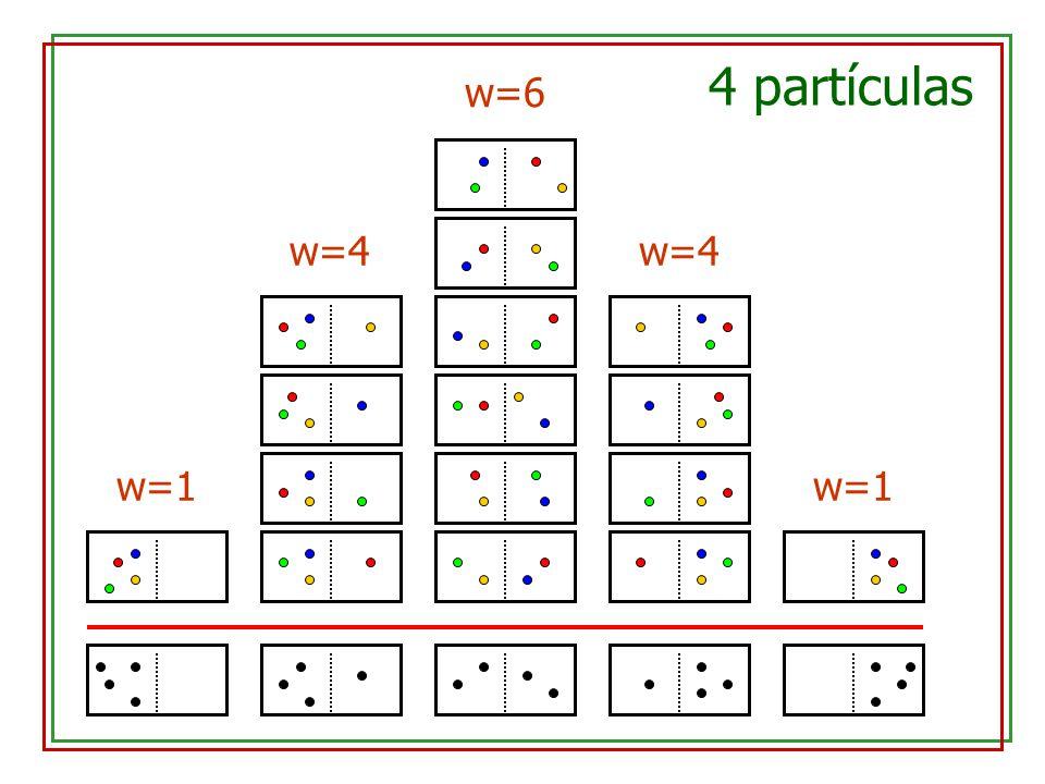 4 partículas w=6 w=4 w=4 w=1 w=1