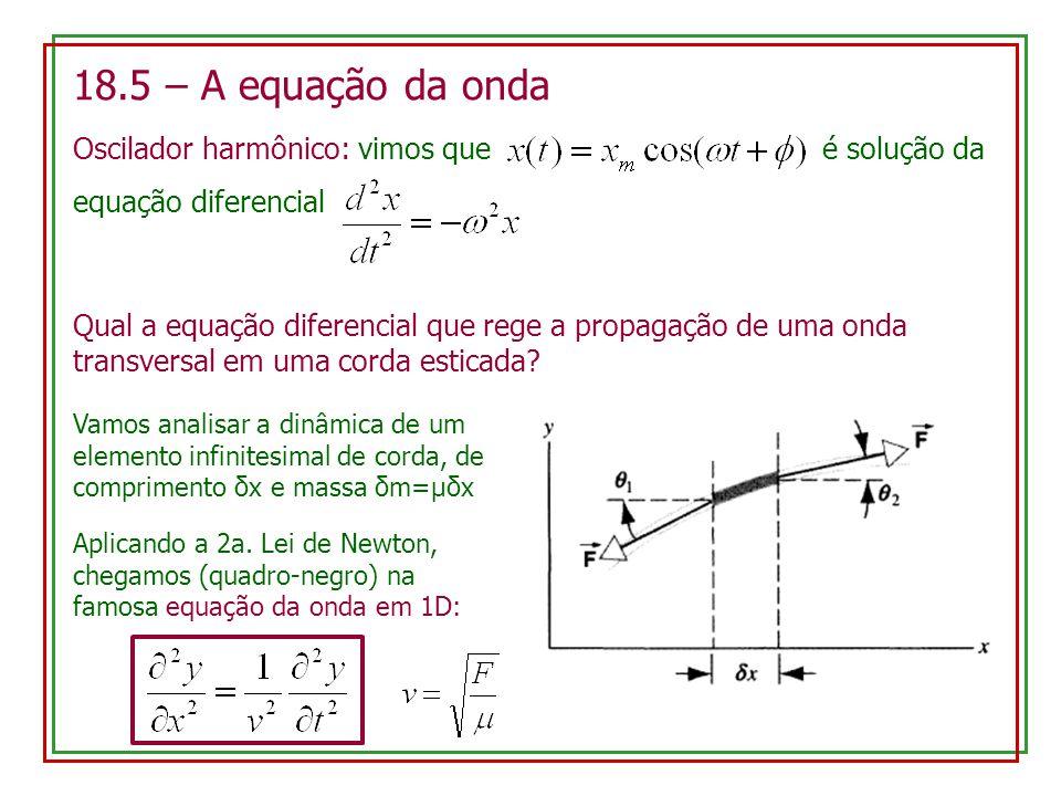 18.5 – A equação da onda Oscilador harmônico: vimos que é solução da