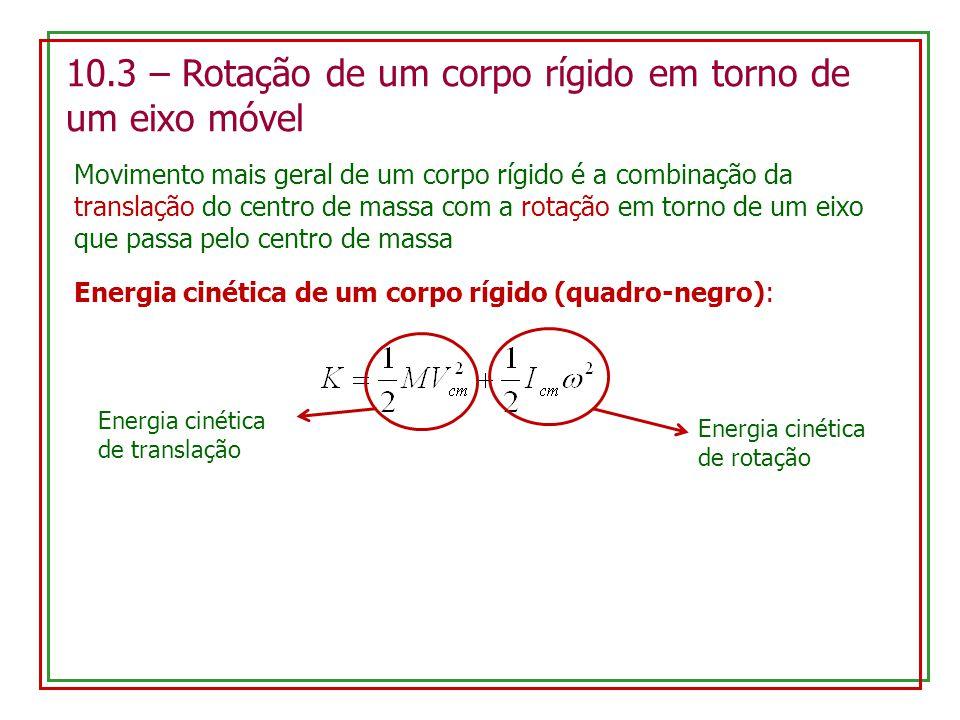 10.3 – Rotação de um corpo rígido em torno de um eixo móvel