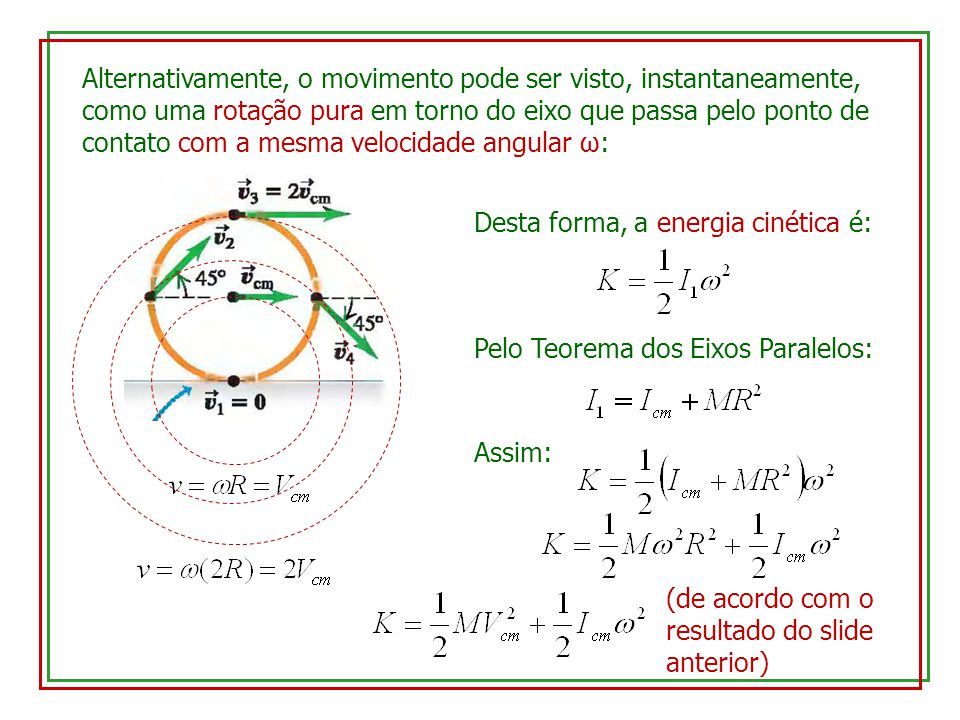 Alternativamente, o movimento pode ser visto, instantaneamente, como uma rotação pura em torno do eixo que passa pelo ponto de contato com a mesma velocidade angular ω: