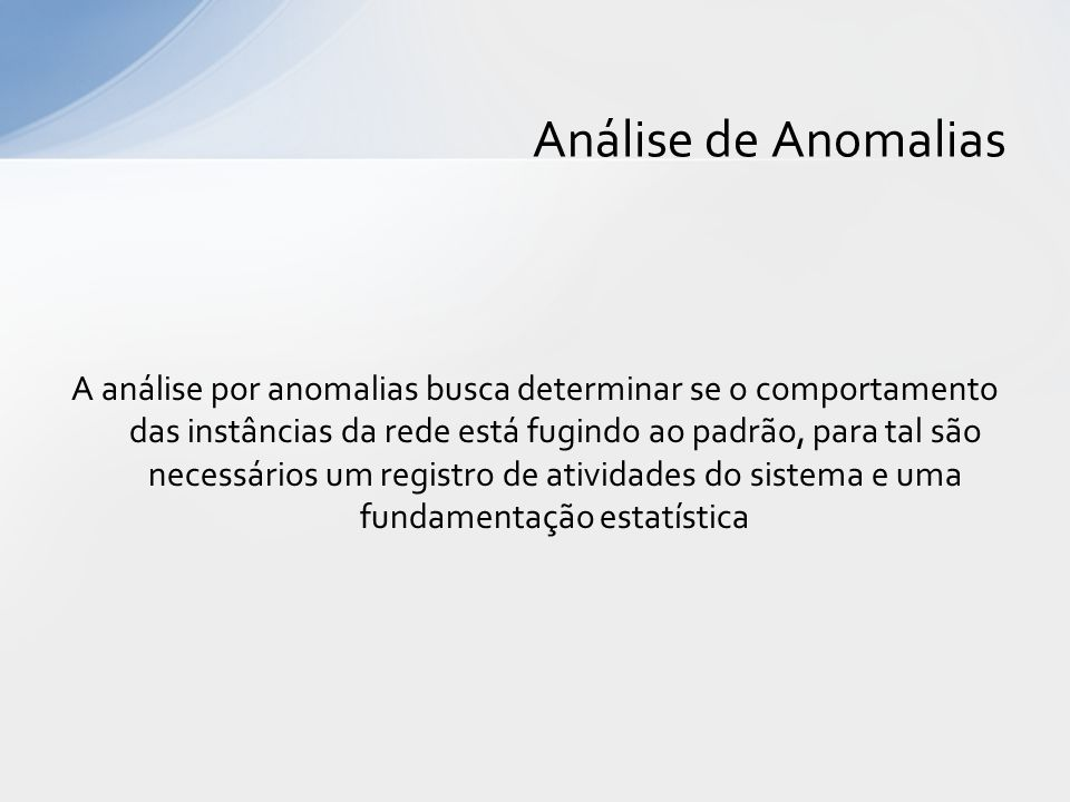 Análise de Anomalias