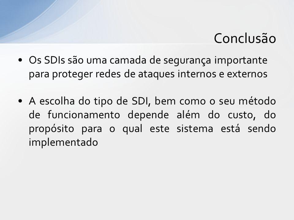 Conclusão Os SDIs são uma camada de segurança importante para proteger redes de ataques internos e externos.