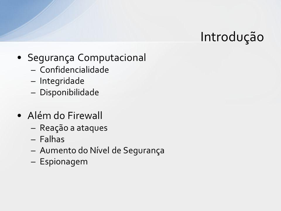 Introdução Segurança Computacional Além do Firewall Confidencialidade