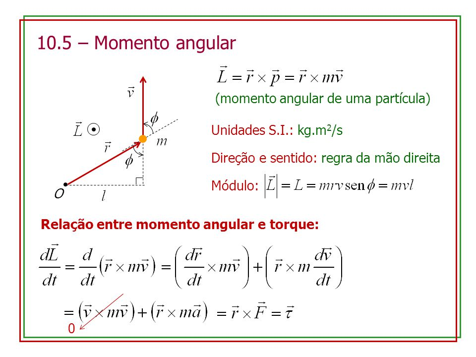 10.5 – Momento angular (momento angular de uma partícula)