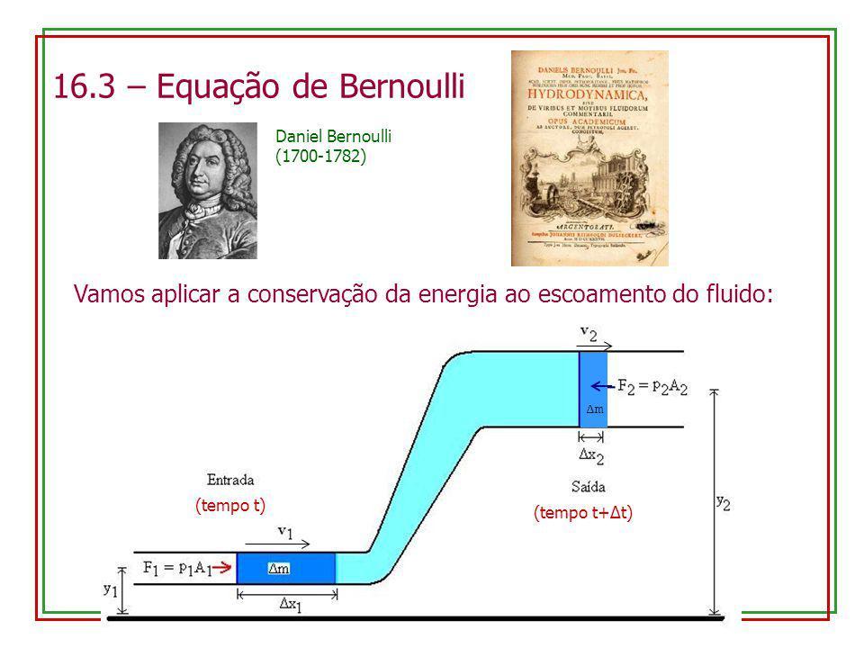 16.3 – Equação de Bernoulli Daniel Bernoulli (1700-1782) Vamos aplicar a conservação da energia ao escoamento do fluido: