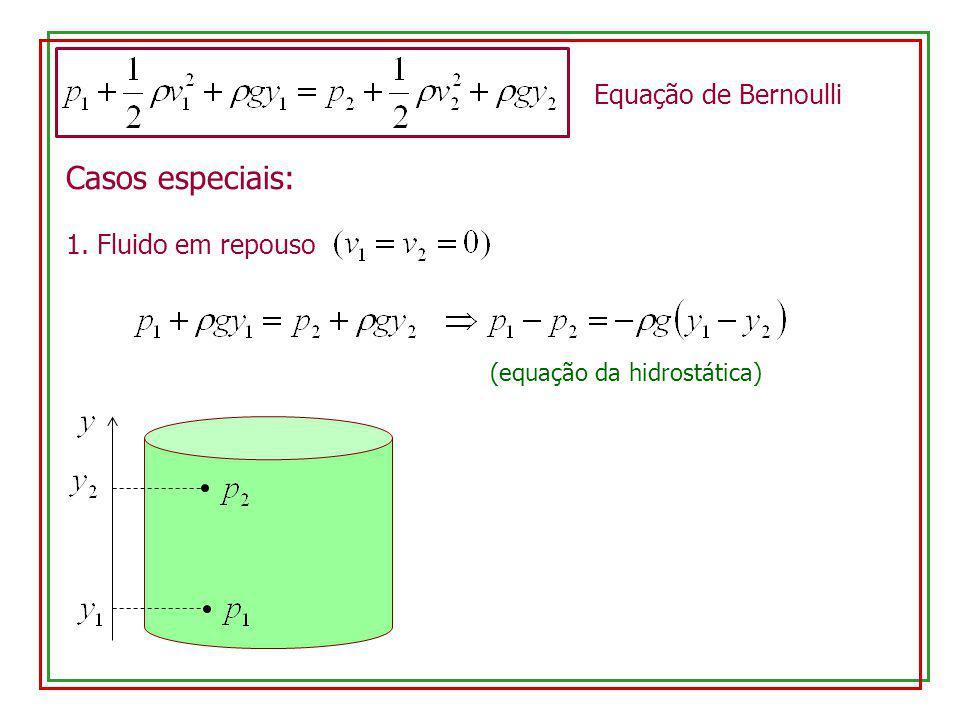Casos especiais: Equação de Bernoulli 1. Fluido em repouso