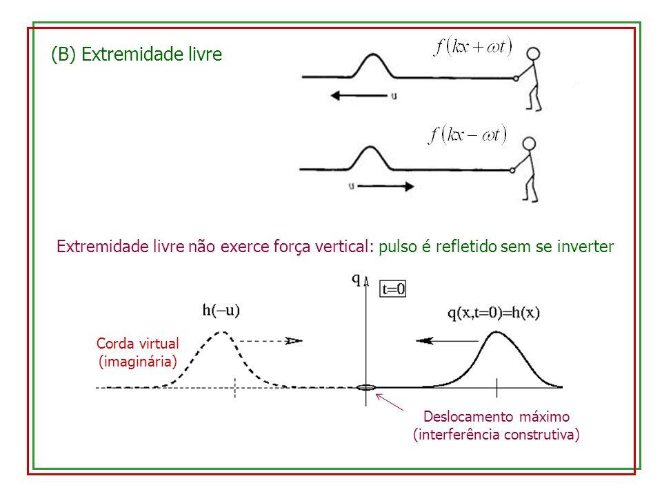 (B) Extremidade livre Extremidade livre não exerce força vertical: pulso é refletido sem se inverter.
