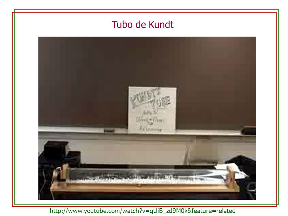 Tubo de Kundt http://www.youtube.com/watch v=qUiB_zd9M0k&feature=related