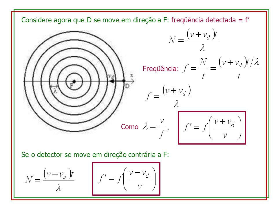 Considere agora que D se move em direção a F: freqüência detectada = f'