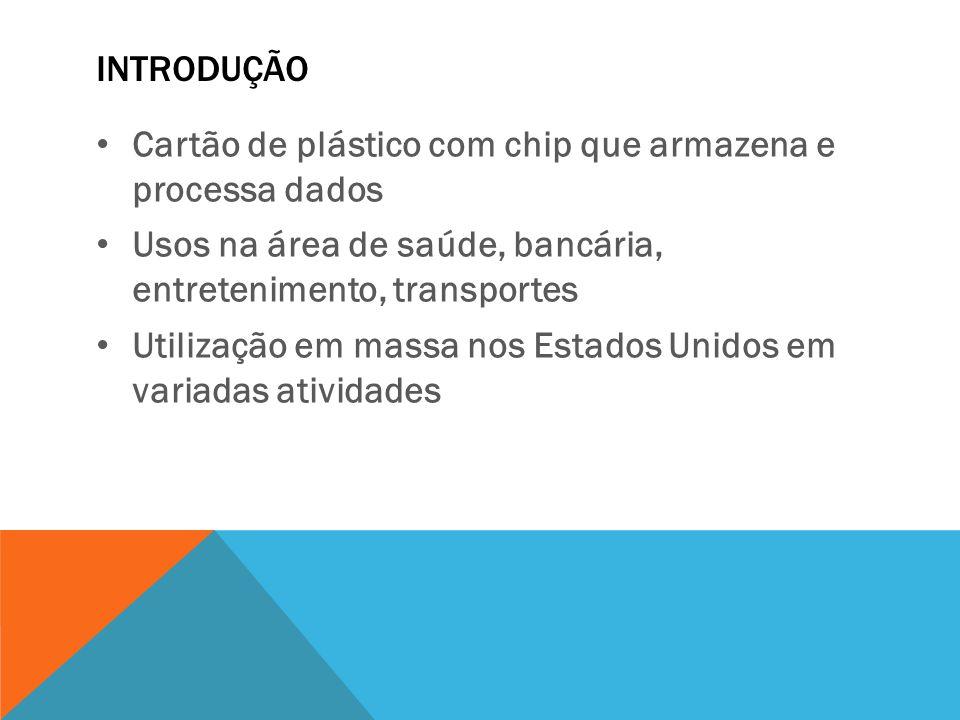 Introdução Cartão de plástico com chip que armazena e processa dados. Usos na área de saúde, bancária, entretenimento, transportes.