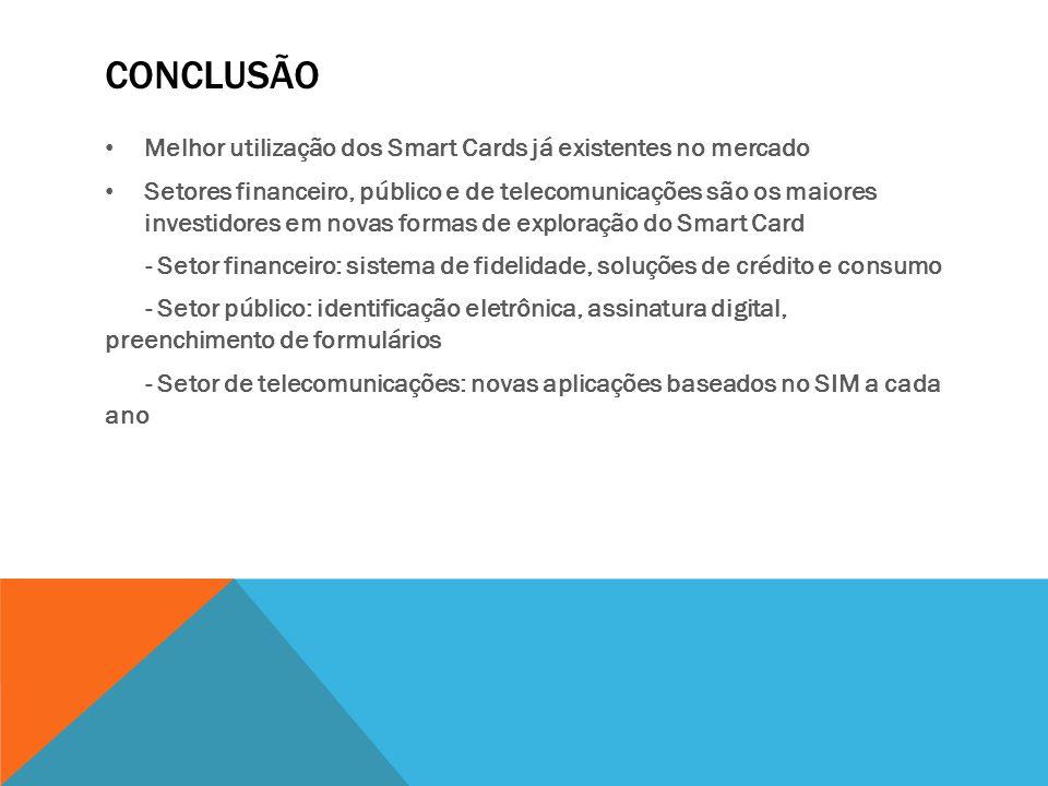 conclusão Melhor utilização dos Smart Cards já existentes no mercado