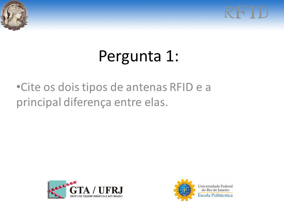 Cite os dois tipos de antenas RFID e a principal diferença entre elas.