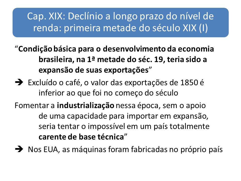 Cap. XIX: Declínio a longo prazo do nível de renda: primeira metade do século XIX (I)