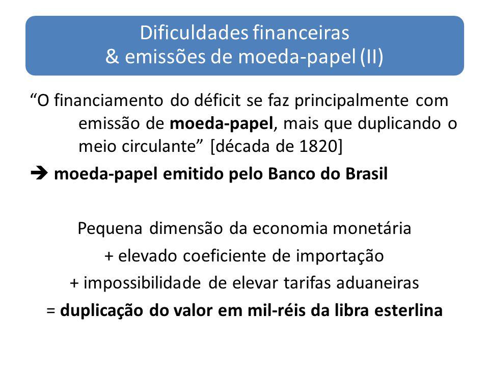 Dificuldades financeiras & emissões de moeda-papel (II)