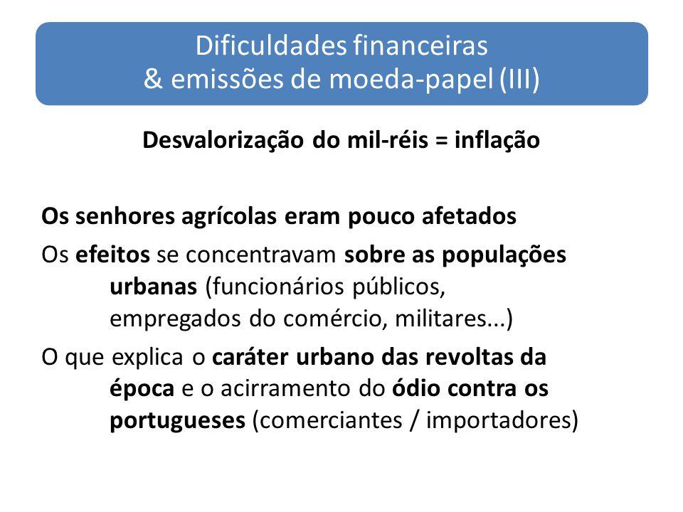Dificuldades financeiras & emissões de moeda-papel (III)
