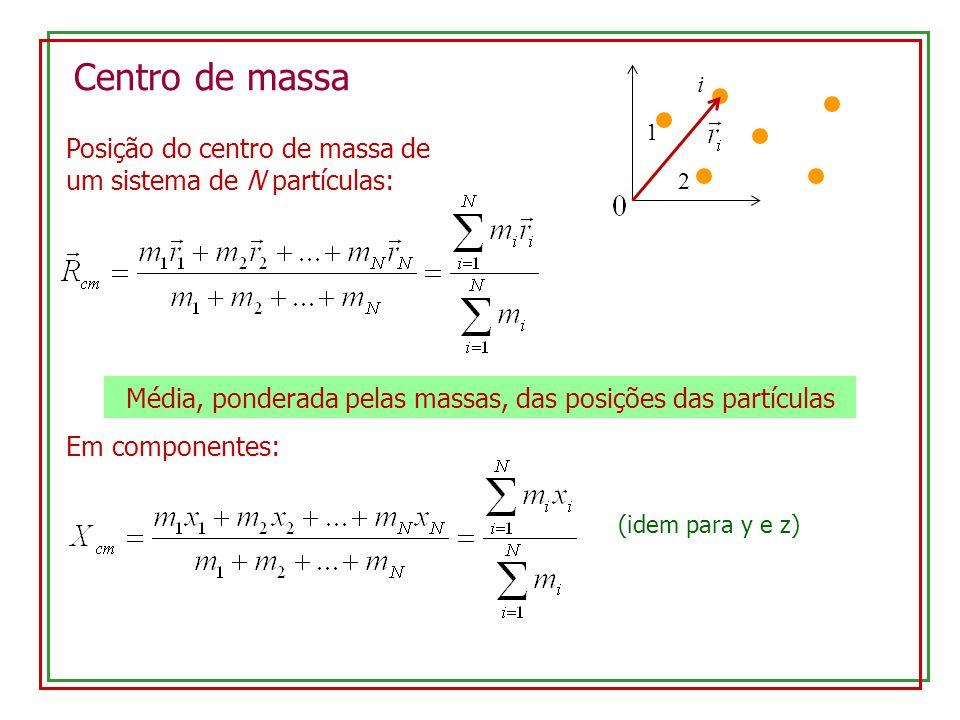 Média, ponderada pelas massas, das posições das partículas