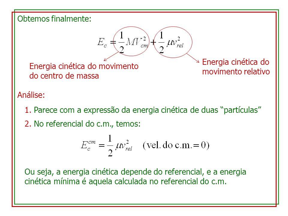 Obtemos finalmente: Energia cinética do movimento do centro de massa. Energia cinética do movimento relativo.
