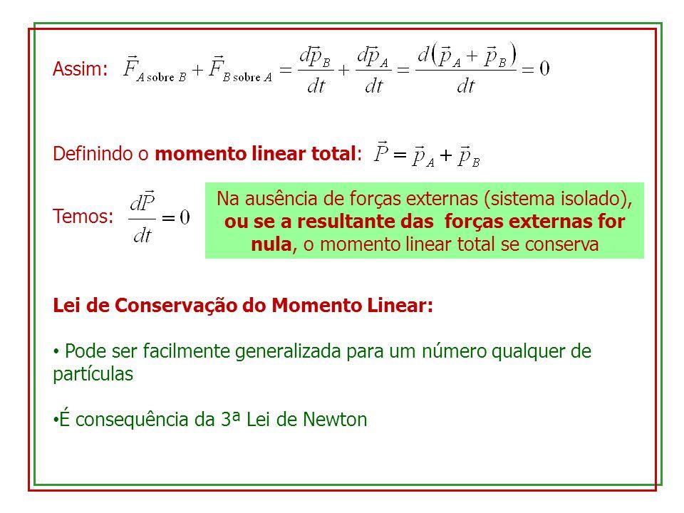 Assim: Definindo o momento linear total: Temos: