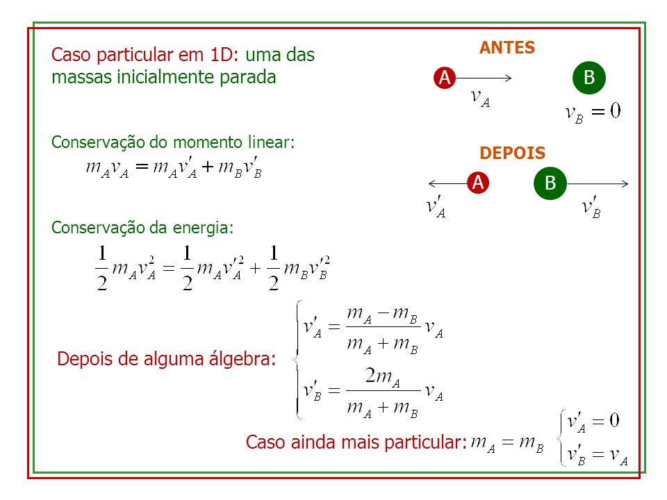 Caso particular em 1D: uma das massas inicialmente parada A B