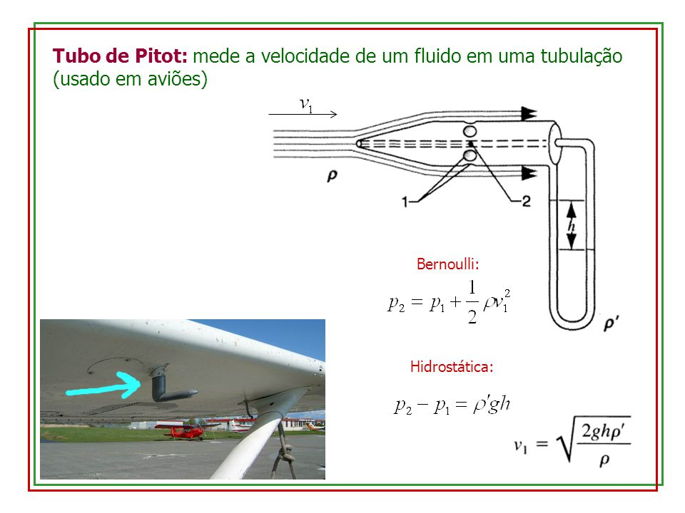 Tubo de Pitot: mede a velocidade de um fluido em uma tubulação (usado em aviões)
