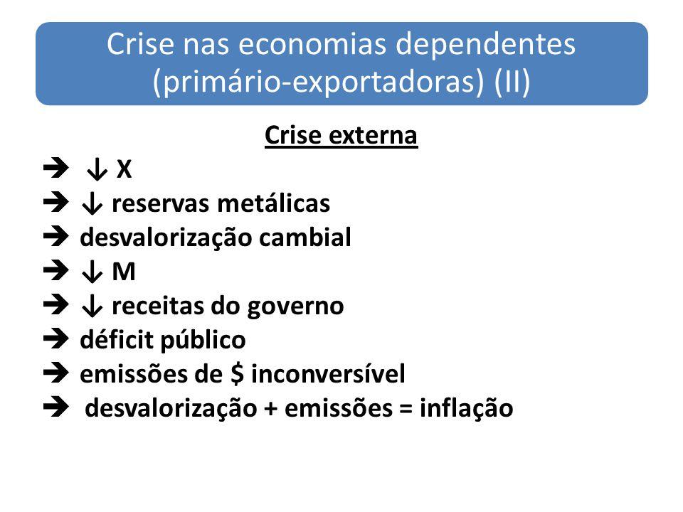 Crise nas economias dependentes (primário-exportadoras) (II)