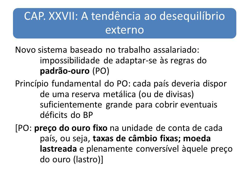 CAP. XXVII: A tendência ao desequilíbrio externo