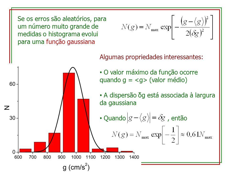 Se os erros são aleatórios, para um número muito grande de medidas o histograma evolui para uma função gaussiana