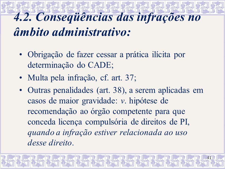 4.2. Conseqüências das infrações no âmbito administrativo: