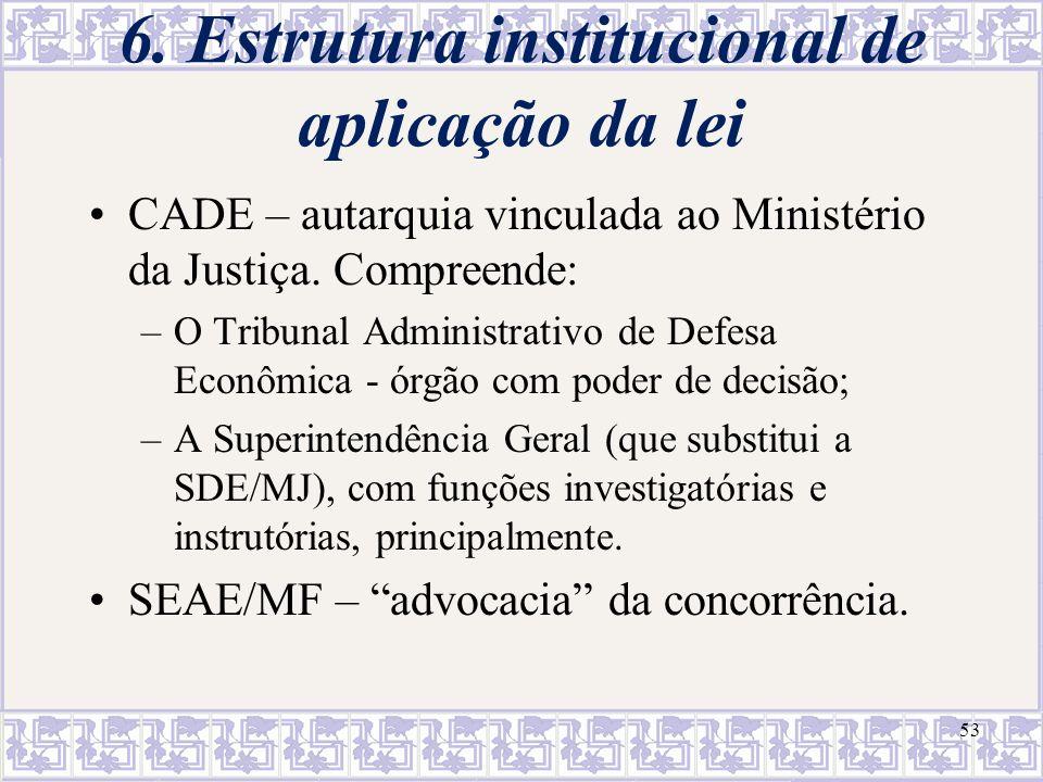 6. Estrutura institucional de aplicação da lei