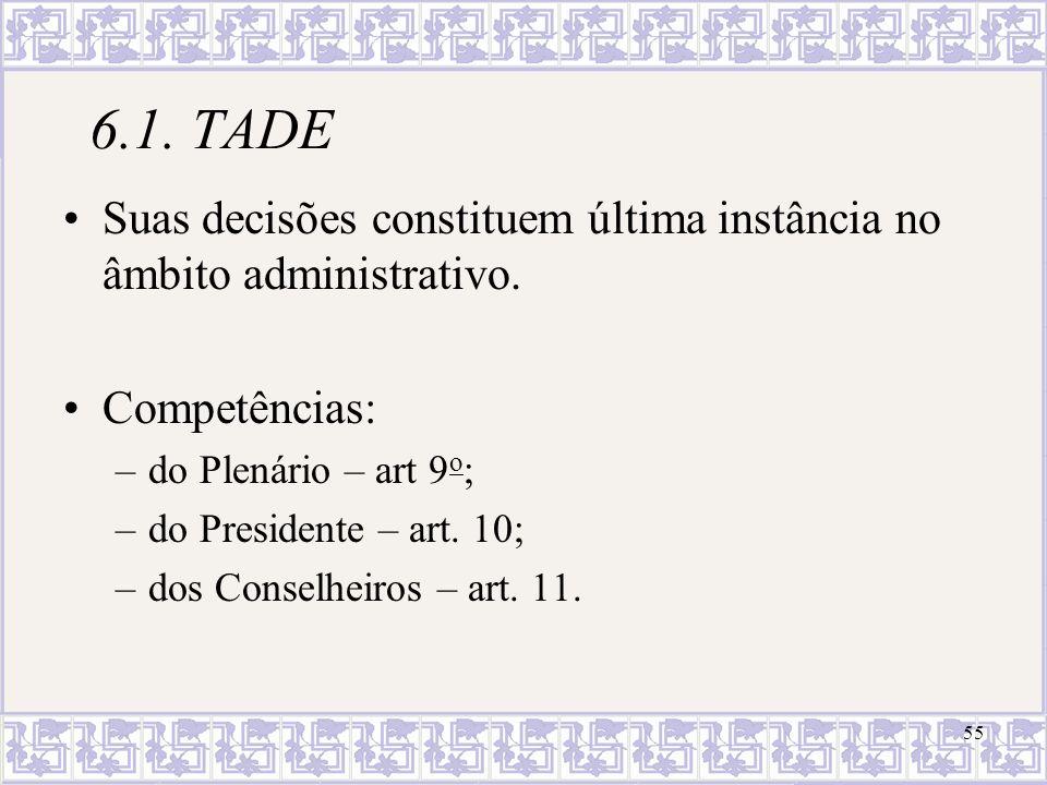 6.1. TADE Suas decisões constituem última instância no âmbito administrativo. Competências: do Plenário – art 9o;