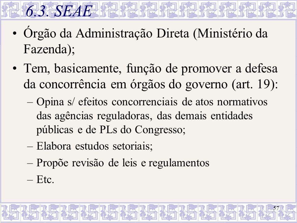 6.3. SEAE Órgão da Administração Direta (Ministério da Fazenda);
