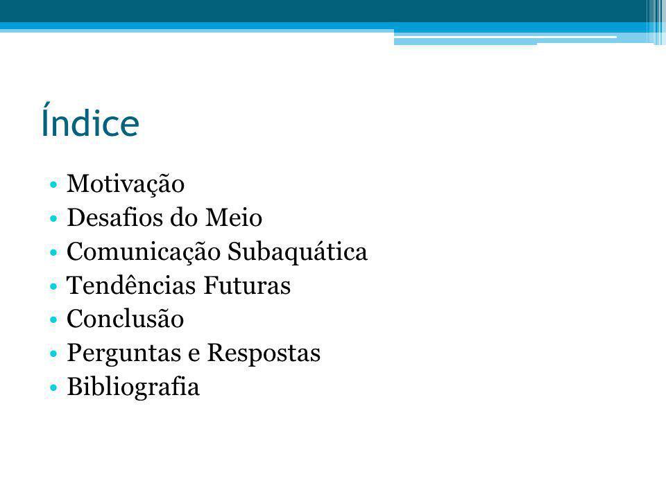 Índice Motivação Desafios do Meio Comunicação Subaquática