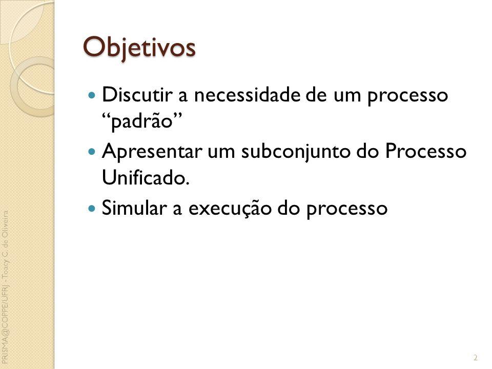 Objetivos Discutir a necessidade de um processo padrão