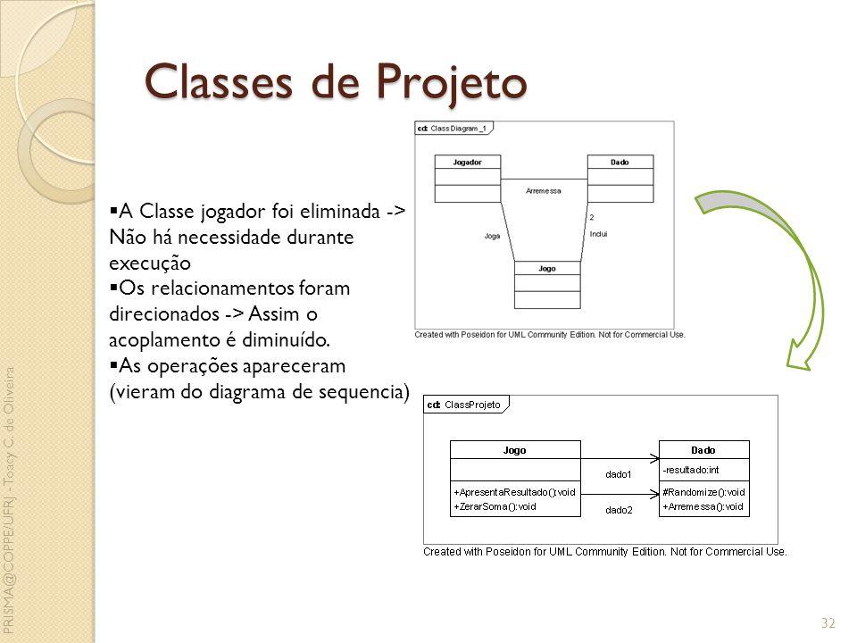 Classes de Projeto A Classe jogador foi eliminada -> Não há necessidade durante execução.