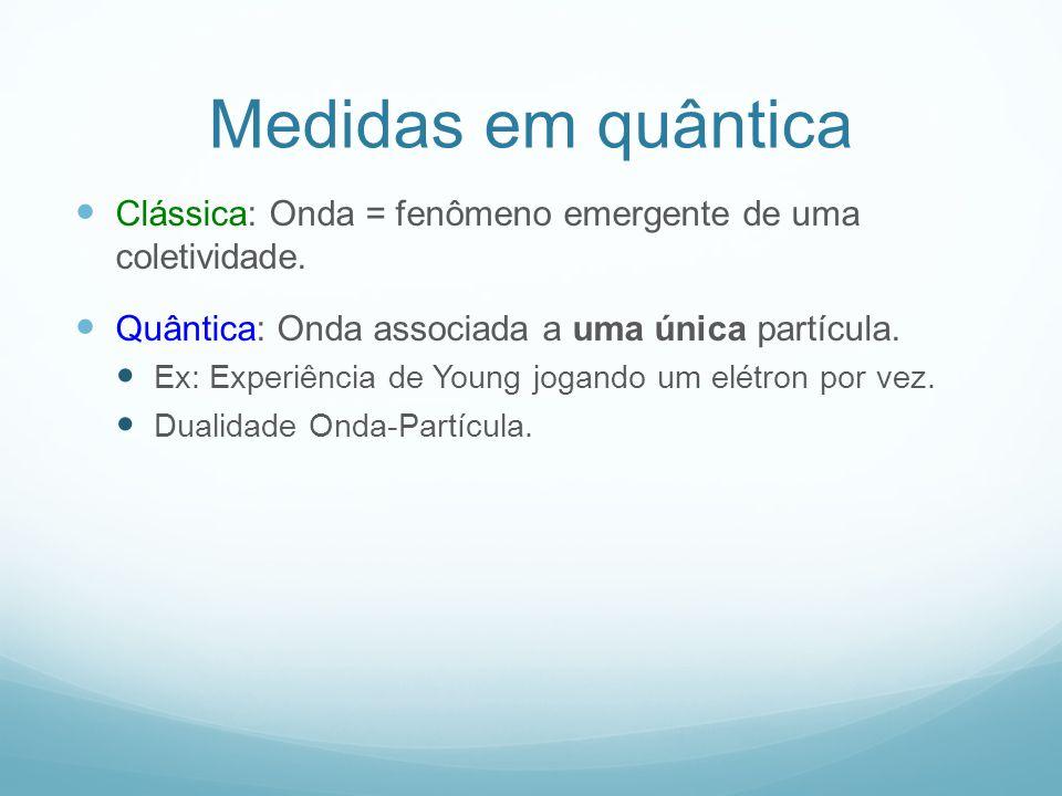 Medidas em quântica Clássica: Onda = fenômeno emergente de uma coletividade. Quântica: Onda associada a uma única partícula.