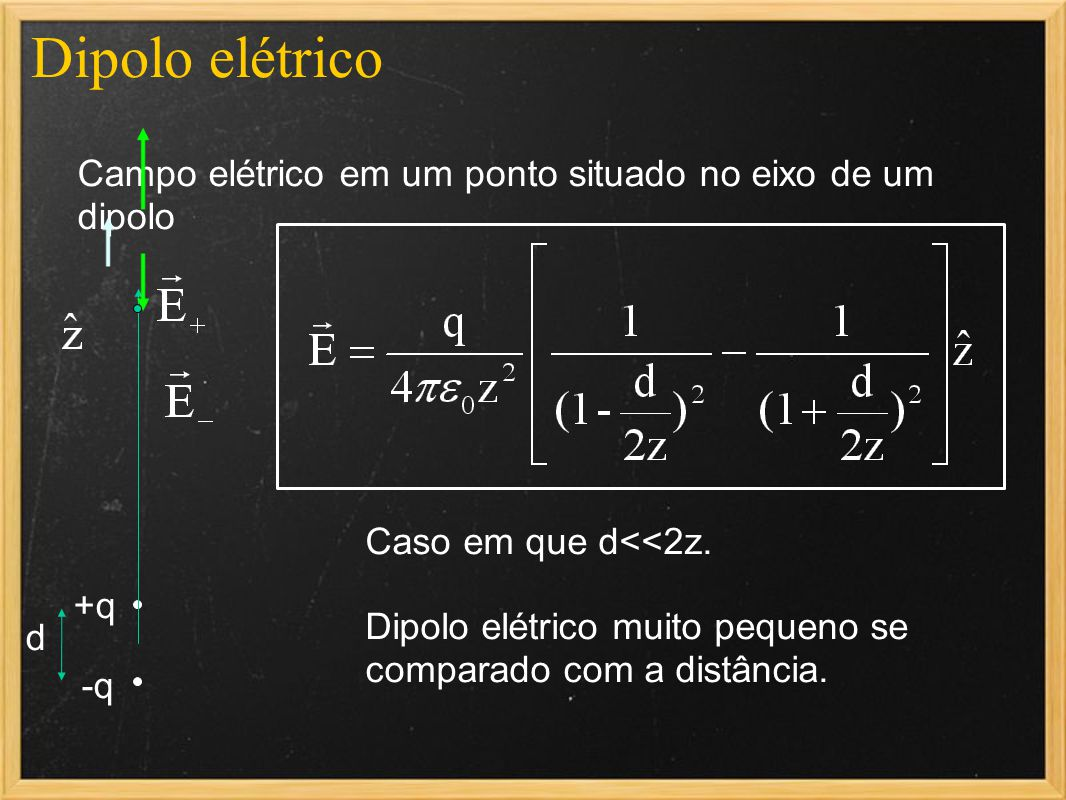Dipolo elétrico Campo elétrico em um ponto situado no eixo de um dipolo. Caso em que d<<2z.