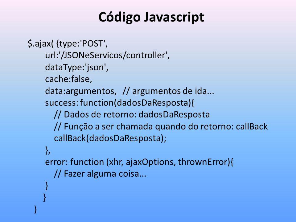 Código Javascript $.ajax( {type: POST ,
