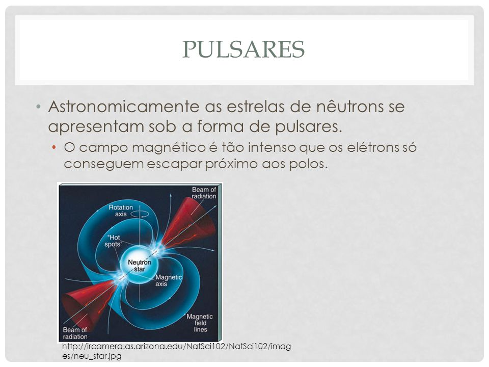 pulsares Astronomicamente as estrelas de nêutrons se apresentam sob a forma de pulsares.