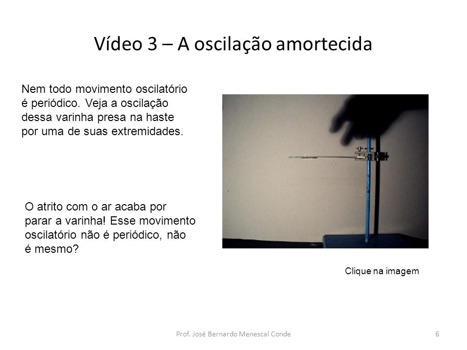 Vídeo 3 – A oscilação amortecida