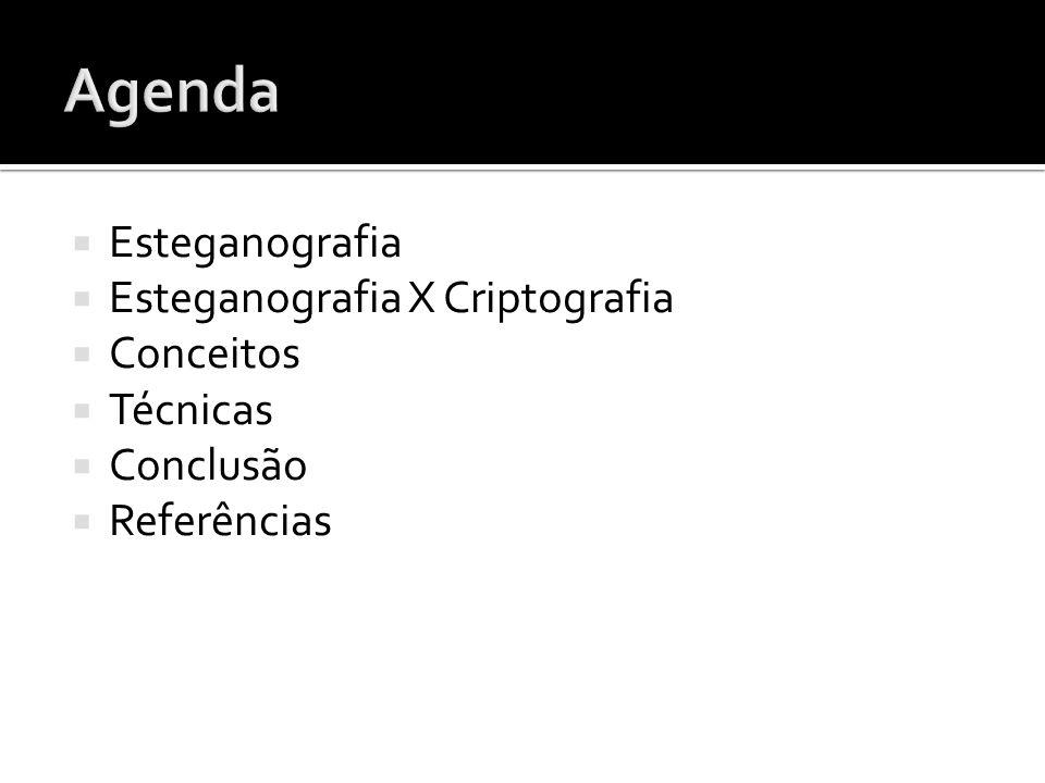 Agenda Esteganografia Esteganografia X Criptografia Conceitos Técnicas